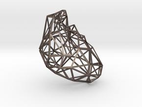 Lattice heart density 10 in Polished Bronzed-Silver Steel