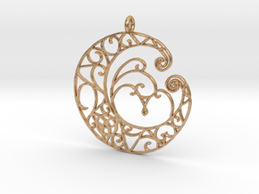 Celtic Wiccan Moon Pendant in Natural Bronze