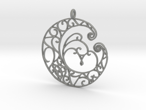 Celtic Wiccan Moon Pendant  in Gray PA12