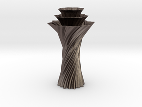 Vase 1236 in Polished Bronzed-Silver Steel