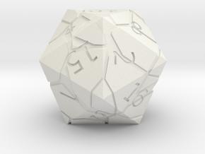 D20 Cracked Dice in White Natural Versatile Plastic