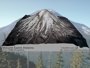 "Mount St. Helens (Pre-1980) Grayscale: 6""x6"" in Matte Full Color Sandstone"