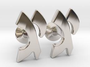 """Hebrew Monogram Cufflinks - """"Yud Gimmel"""" in Platinum"""