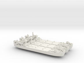 USN WW2 LST Mk2 (x3) in White Natural Versatile Plastic: 1:1200