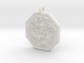 Celtic Dog Octagon Pendant in White Natural Versatile Plastic