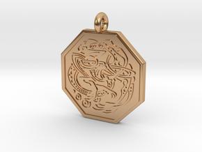 Celtic Dog Octagon Pendant in Polished Bronze