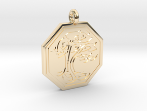 Sacred Tree of Life Octagon Pendant in 14K Yellow Gold