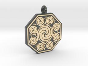 Celtic Spirals Octagonal Pendant  in Glossy Full Color Sandstone