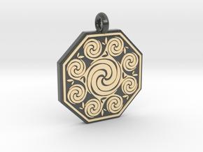 Celtic Spirals Octagonal Pendant in Glossy Full Color Sandstone