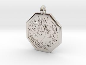 Dragon Octagonal Celtic Pendant in Rhodium Plated Brass