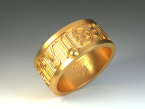 Zodiac Sign Ring Aquarius / 20mm in Polished Brass