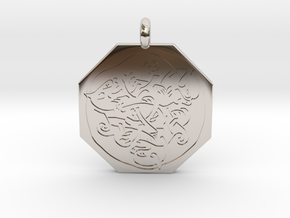 Cat Celtic Octagonal Pendant in Rhodium Plated Brass