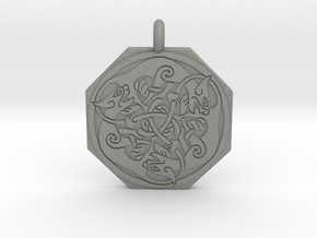 Cat Celtic Octagonal Pendant in Gray PA12