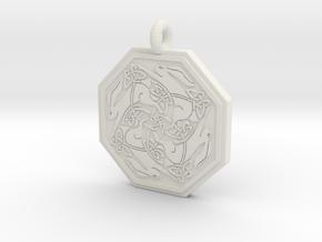 Hare Celtic Octagon Pendant in White Natural Versatile Plastic