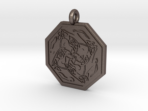 Hare Celtic Octagon Pendant in Polished Bronzed-Silver Steel