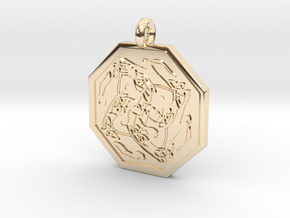 Hare Celtic  Octagon Pendant  in 14k Gold Plated Brass