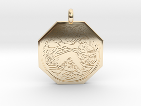 Divine Couple Celtic Octagon Pendant in 14k Gold Plated Brass