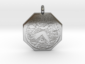 Divine Couple Celtic Octagon Pendant in Polished Silver