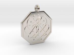 Celtic Heart Octagon Pendant in Rhodium Plated Brass