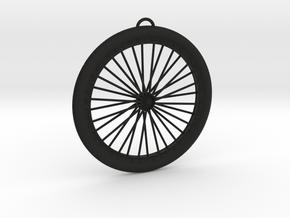Bicycle Wheel Pendant Big in Black Premium Versatile Plastic