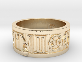 Zodiac Sign Ring Taurus / 20mm in 14k Gold Plated Brass