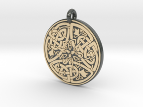 Celtic Serpent  Round Pendant in Glossy Full Color Sandstone