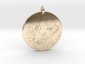 Birds Celtic Round Pendant in 14k Gold Plated Brass