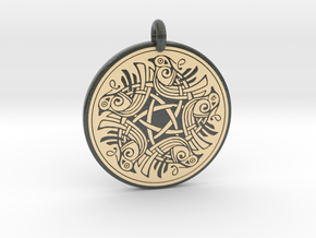 Birds Celtic Round Pendant in Glossy Full Color Sandstone