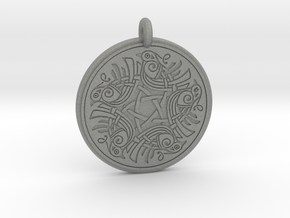 Birds Celtic Round Pendant in Gray PA12
