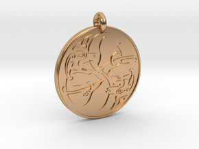 Celtic Dog round Pendant in Polished Bronze
