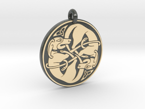 Celtic Dog round Pendant in Glossy Full Color Sandstone