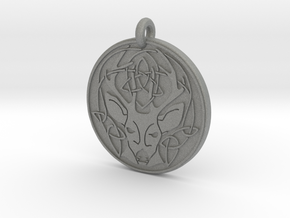 Stag - The Horned God Round Pendant in Gray PA12