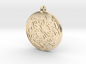 Celtic Spiritual Journey round Pendant in 14k Gold Plated Brass