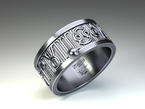 Zodiac Sign Ring Leo / 22mm in Antique Silver
