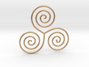 Celtic triple spiral pendant in Natural Bronze
