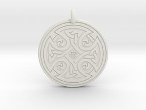 Celtic Cross - Round Pendant in White Natural Versatile Plastic