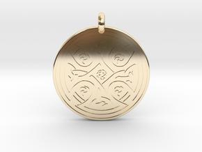 Celtic Cross - Round Pendant in 14K Yellow Gold