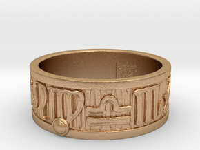 Zodiac Sign Ring Virgo / 23mm in Natural Bronze