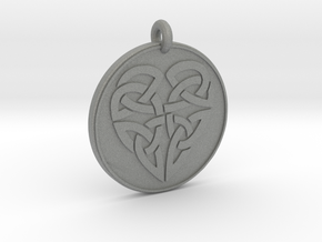Heart - Round Celtic Pendant in Gray PA12