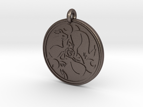 Hare Celtic - Round Pendant in Polished Bronzed-Silver Steel