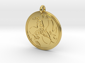 Hare Celtic  - Round Pendant in Polished Brass