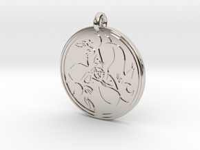 Hare Celtic  - Round Pendant in Platinum