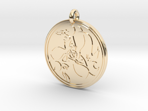 Hare Celtic  - Round Pendant in 14k Gold Plated Brass