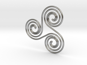 Water triple spiral pendant in Natural Silver