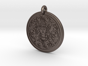Brigantia Goddess Round Pendant in Polished Bronzed-Silver Steel