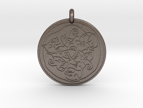 Cat Celtic - Round Pendant in Polished Bronzed-Silver Steel