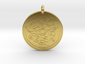 Cat Celtic - Round Pendant in Polished Brass