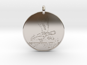 Bald Eagle Soaring Totem Pendant in Rhodium Plated Brass