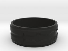 "Custom Ring made from 1 Waveforms (""I Love You"") in Black Premium Versatile Plastic"