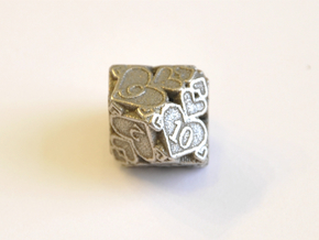 D10 Balanced - Hearts in Polished Bronzed Silver Steel